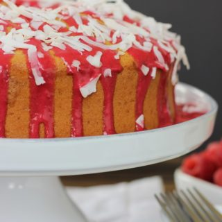 raspberry glazed coconut chiffon cake