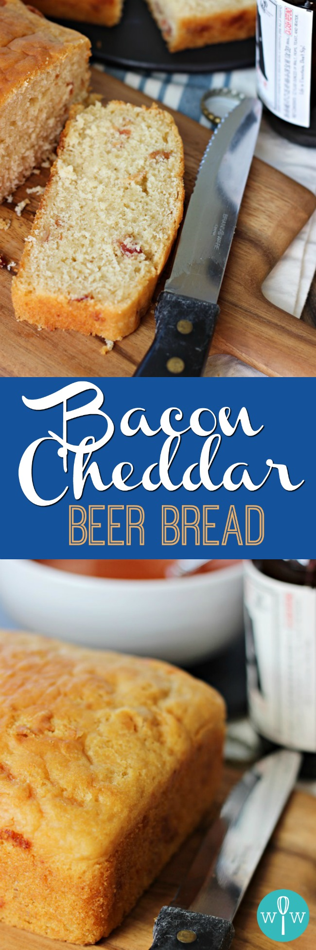 Bacon Cheddar Beer Bread – A moist, dense bread recipe combining smoky bacon and sharp cheddar cheese with a buttery, crunchy crust. A quintessential comfort food! | www.worthwhisking.com
