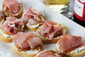 Goat Cheese Fig Prosciutto Crostini