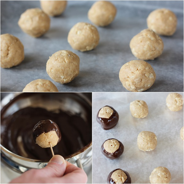 Crispy Buckeyes – Decadent peanut butter confections studded with crispy rice cereal and coated in semisweet chocolate. A classic holiday treat!   www.worthwhisking.com