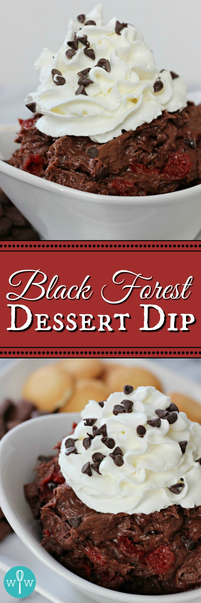Black Forest Dessert Dip – An easy dessert dip reminiscent of the classic German cake. A luscious combination of chocolate, cherries, & whipped cream! | www.worthwhisking.com