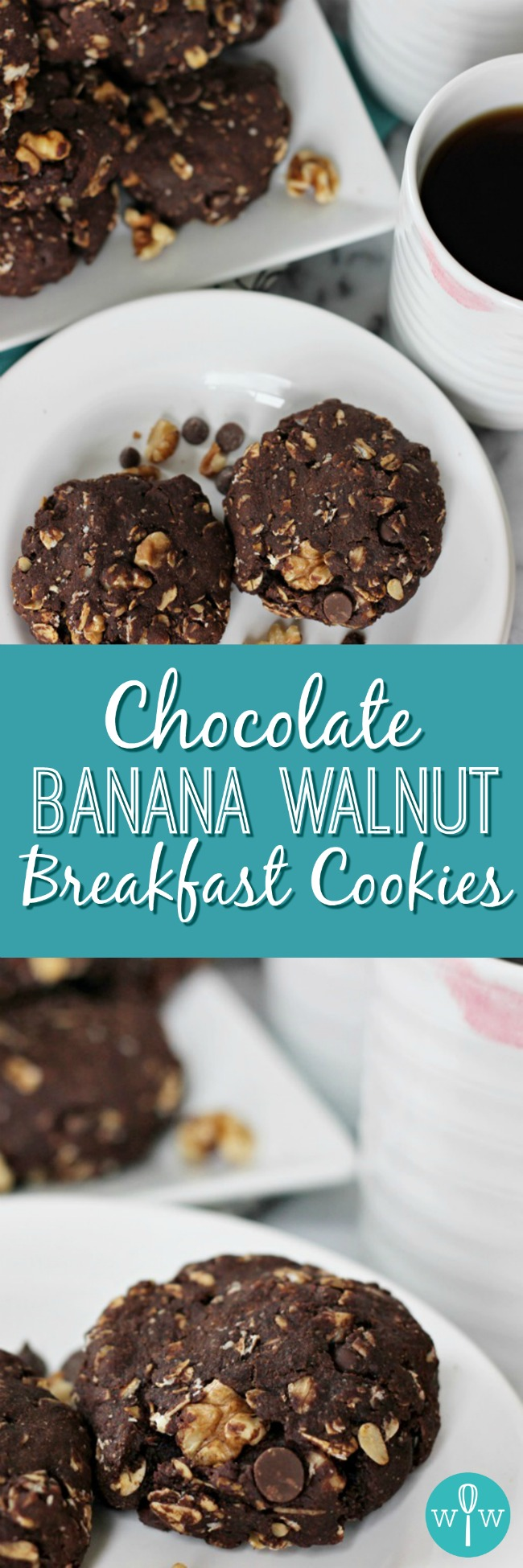 Chocolate Banana Walnut Breakfast Cookies – Who doesn't love cookies for breakfast? With omega 3s, antioxidants, potassium, and heart-friendly oats, these cookies are delicious AND good for you. | www.worthwhisking.com