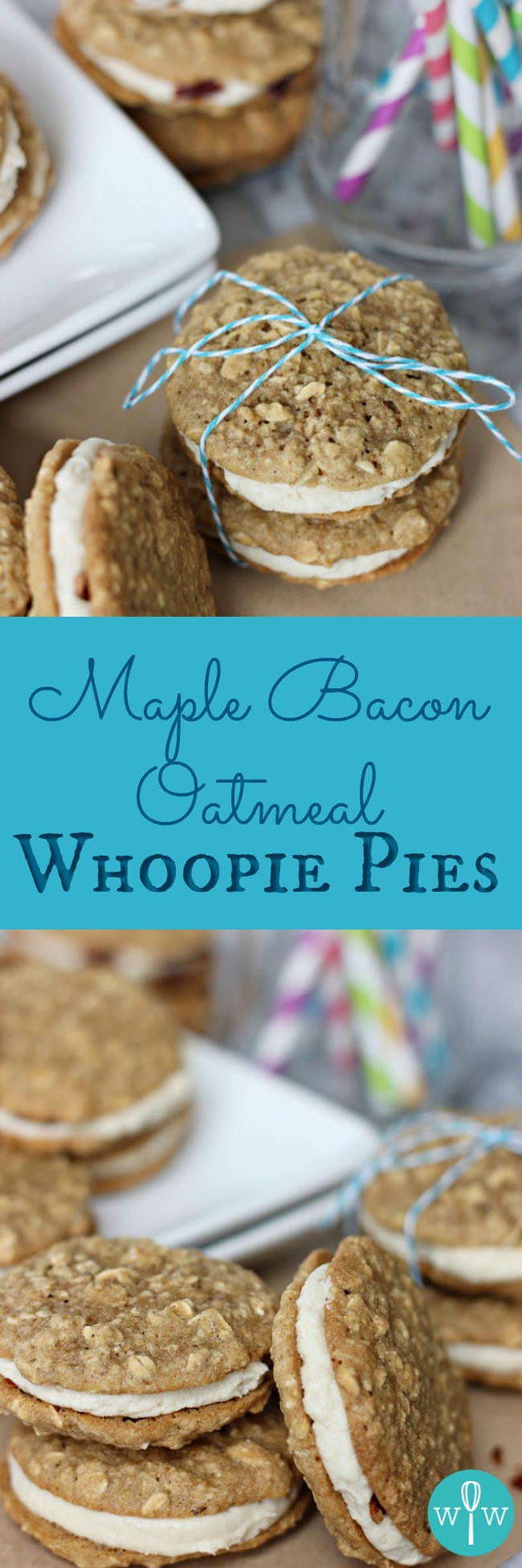 Maple Bacon Oatmeal Whoopie Pies – Creamy maple filling and crispy bacon sandwiched between two chewy oatmeal cookies taste just like breakfast! | www.worthwhisking.com