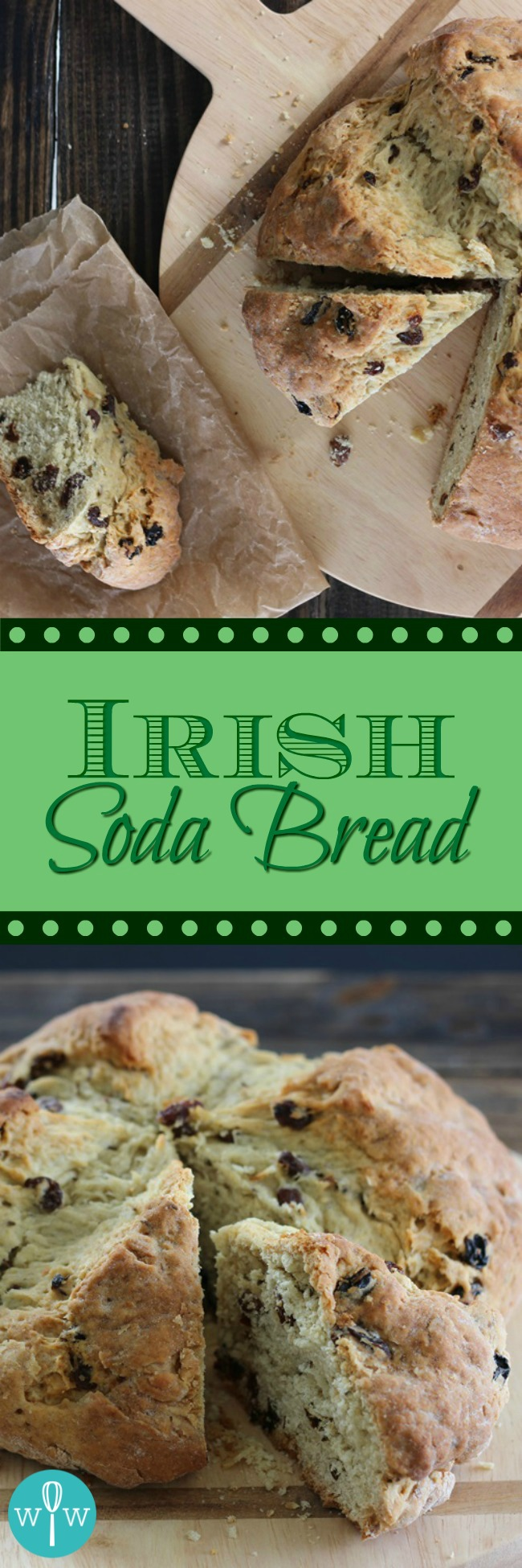Irish Soda Bread (American-Style) - Flecked with raisins and caraway seeds, this Irish Soda Bread recipe is sweet, moist, and tender with a pleasantly crunchy outer crust. | www.worthwhisking.com