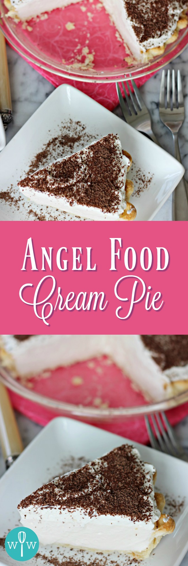 Angel Food Cream Pie – A light and creamy meringue filling topped with sweetened whipped cream and grated dark chocolate. | www.worthwhisking.com