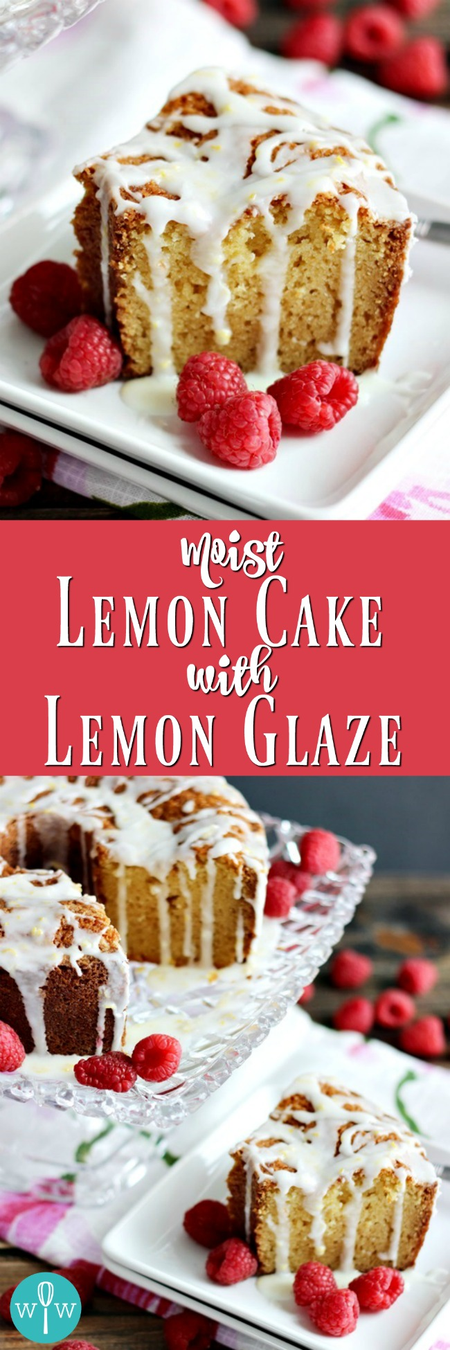 Moist Lemon Cake with Lemon Glaze - A moist, tender cake with a tart and sweet lemon glaze. A delicious spring and summer recipe! | www.worthwhisking.com