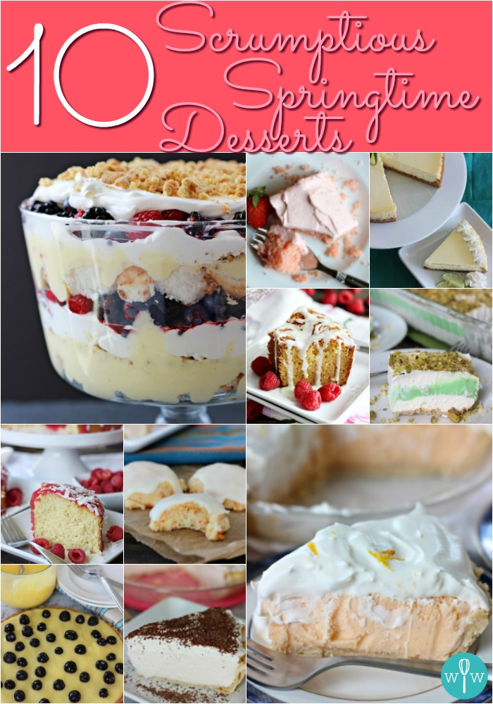 10 Scrumptious Springtime Desserts - Desserts don't need to be heavy! Lighten up with these 10 delicious palate pleasers that are perfect for springtime celebrations! | www.worthwhisking.com