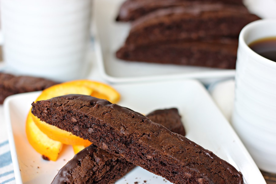 Double Chocolate Orange Biscotti – An Americanized version of the classic Italian cookie full of chocolate flavor with a touch of orange.  A perfect accompaniment to your morning coffee! | www.worthwhisking.com