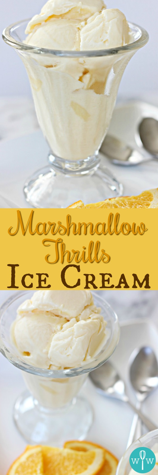 Marshmallow Thrills Ice Cream – This timeless, simple creamy orange no-churn ice cream made with marshmallows comes straight from my grandma's recipe book! | www.worthwhisking.com
