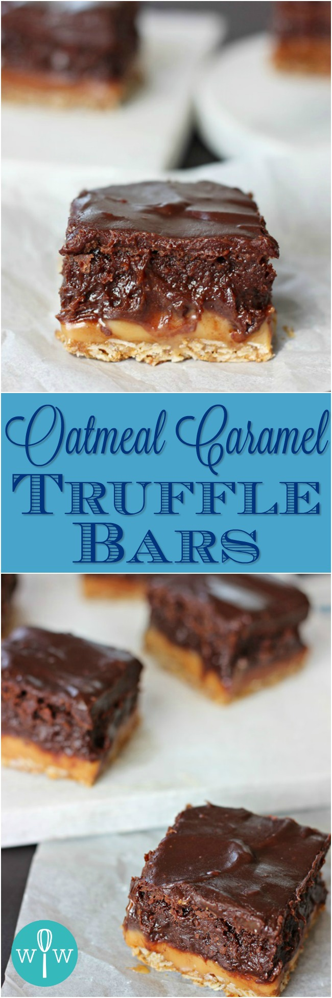 Oatmeal Caramel Truffle Bars – A rich and delicious dessert bar with gooey caramel and brownie layers sandwiched between an oatmeal crust and creamy chocolate ganache. | www.worthwhisking.com