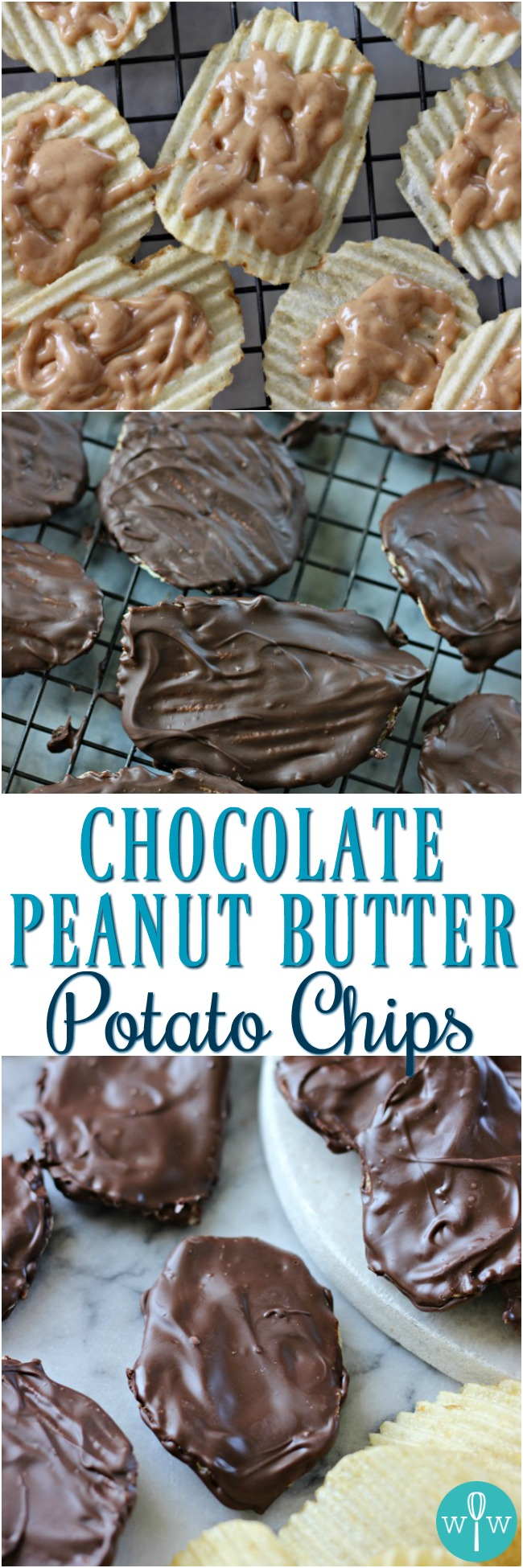 Chocolate Peanut Butter Potato Chips – An amazing salty-sweet combo! Rippled potato chips slathered in creamy peanut butter and rich chocolate! | www.worthwhisking.com