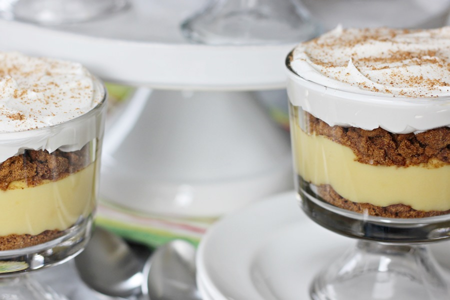 Eggnog Gingersnap Trifles – A seasonal delight! Whipped topping and nutmeg cap creamy eggnog filling layered between crushed gingersnap cookies. | www.worthwhisking.com